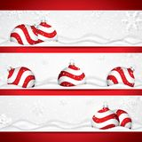 Christmas banners with red balls on snow vector illustration
