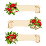 Christmas banners with red, silver and green balls, fir-tree branches, holly and cones.. Three vector Christmas parchment banners with red, silver and green Stock Images