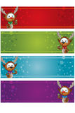 4 Christmas Banners - Reindeer Royalty Free Stock Photos