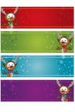 4 Christmas Banners - Reindeer Stock Image