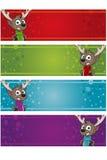 4 Christmas Banners - Reindeer Stock Photo