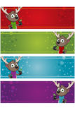 4 Christmas Banners - Reindeer Royalty Free Stock Images