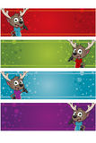 4 Christmas Banners - Reindeer Royalty Free Stock Photo