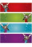 4 Christmas Banners - Reindeer Royalty Free Stock Photo