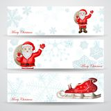 Christmas banners with Santa Claus. Over snowflakes background royalty free illustration