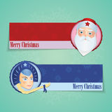 Christmas banners with santa claus and Snow maiden Stock Images