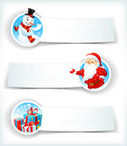 Christmas banners with Santa Claus and snowman Stock Photos
