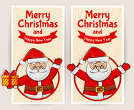 Christmas banners with Santa Claus. Vector set. Stock Photos