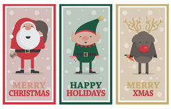 Christmas banners with Santa, Elf and Reindeer Royalty Free Stock Photography