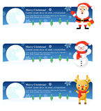 Christmas Banners: Santa, Snowman, Rudolph Royalty Free Stock Photos