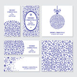 Christmas banners set with blue snowflakes Royalty Free Stock Photo