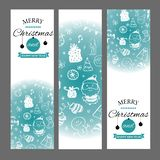 Christmas banners set with design elements in doodle style. With snow frames on white background. stock illustration
