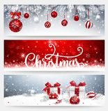 Christmas Banners Set with Balls and Gifts Vector Illustration
