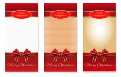 Christmas banners set with gold inscription. On a red background - Merry Christmas. Christmas design. Vector templates for creating holiday cards Royalty Free Stock Images