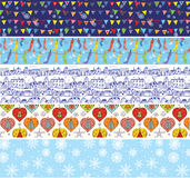 Christmas banners set with pattern of snow, decorations. Houses vector illustration