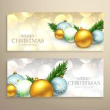 Christmas banners set with realistic xmas balls. Vector Royalty Free Stock Photography