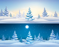 Christmas banners set with snowy fir trees Royalty Free Stock Photography