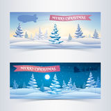 Christmas banners set with snowy fir trees Stock Photography
