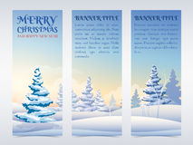 Christmas banners set with snowy fir trees Stock Images