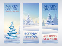 Christmas banners set with snowy fir trees Stock Photo