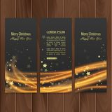 Christmas banners set on wood substrate. Vector eps 10 Stock Image