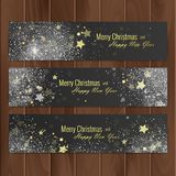 Christmas banners set on wood substrate. Vector eps 10 Royalty Free Stock Photos