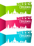 Christmas Banners with Silhouette Village Royalty Free Stock Photos