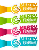 Christmas Banners with Snowflakes. Vector set of colorful Christmas banners with snowflake stickers Royalty Free Stock Photos