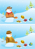 Christmas banners with snowmen. Royalty Free Stock Photos