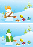 Christmas banners with snowmen. Stock Image