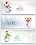 Christmas banners with snowmen. Three Christmas banners with snowmen on a gray background Stock Photos