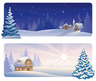 Christmas banners. Banners with a snowy night village and a Christmas morning house Royalty Free Stock Image