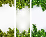 Christmas banners with spruce branches. Royalty Free Stock Image