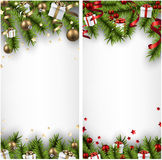 Christmas banners with spruce branches. Winter banners with spruce twigs and colorful baubles. Christmas vector illustration. Eps10 Stock Photography
