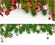 Christmas banners with spruce branches. Stock Photos