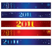 Christmas banners with stars  and  2011 Royalty Free Stock Photos
