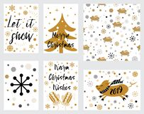 Christmas banners tags set with pig Christmas tree mittens phrases decorated gold snow Lettering Merry Christmas. Vector illustrat. Christmas banners tags set vector illustration