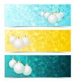 Christmas banners. Three Christmas banners with xmas balls Stock Photography