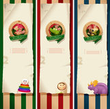 Christmas banners - toys labels and paper vector illustration
