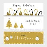 Christmas banners. With christmas trees and balls Royalty Free Stock Images