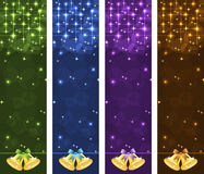 Christmas banners vertical. With gold xmas bells, bows, stars and bubbles. Copy space for text Stock Photo