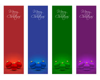 Christmas banners. Vertical Christmas banners with balls in various colors Stock Photography