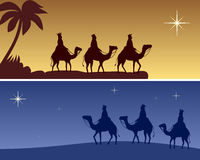 Christmas Banners - Wisemen. Two Christmas banners with the three Wisemen following the star to Bethlehem. Useful also as creche background. Eps file available Royalty Free Illustration