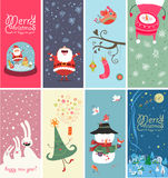 Christmas Banners With Funny Characters Stock Photos
