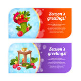 Christmas banners with woolen stocking and candle lantern Royalty Free Stock Photo