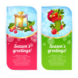 Christmas banners with woolen stocking and candle lantern Royalty Free Stock Photography