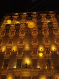 Christmas in Barcelona. Christmas Lighting in Barcelona building Royalty Free Stock Photography