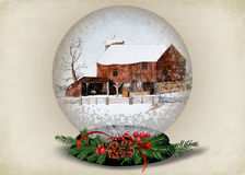 Christmas barn in snow globe Stock Photos