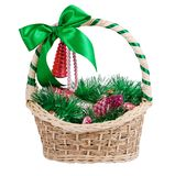 Christmas Basket. With bow, assorted ornaments. Isolated Stock Photo
