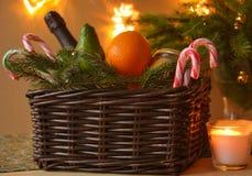 Christmas basket Stock Photos